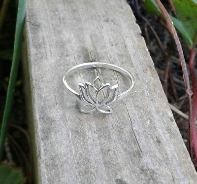 Dainty Solid Sterling Silver Lotus Flower Ring, Yoga Jewelry
