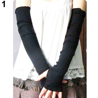 Women Cool Chic UV Protection Arm Warmer Cotton Long Fingerless Gloves Sleeves