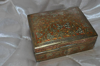 ANTIQUE Indian Egyptian brass hand carved hand made trinket box jewelery