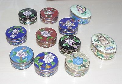 Beautiful Chinese Cloisonne Enamelled Pill Trinket Pot Choice Of Colour