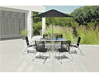 6 Seater Patio Furniture Set Outdoor Garden Deck Dining Table Chairs Parasol NEW