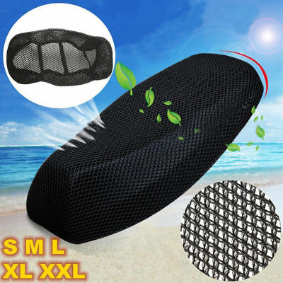 3D Black Motorcycle Electric Bike Net Seat Cover Mesh Cooling Protector Cushion