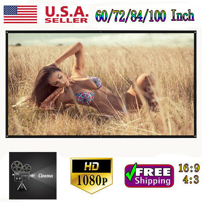 """100"""" 16:9 4K 3D HD Hanging Projector Screen Home Cinema Theater Movie Projection"""