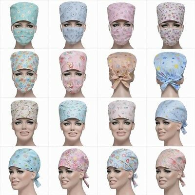 New Doctor & Nurses Hospital Scrub Cap Printed Medical Surgical Surgery Hat Mask