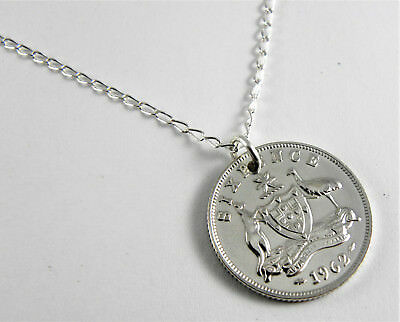 1962 Australian Silver Sixpence Coin Necklace - 60cm sterling silver chain