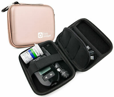 Rigid Rose Gold Case For Insulin / Glucose Monitor / Diabetes Medical Supplies