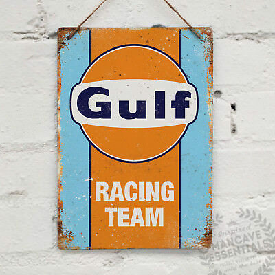 GULF RACING Replica Vintage Metal Wall Sign Plaque Retro Garage Shed Car Motor