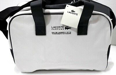 LACOSTE PARFUM L12-12 White Gray Sport Duffle Gym Weekend Large Bag ... 18ee272151381
