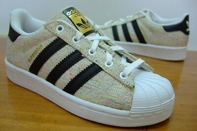 Original Boys Adidas Superstar Shell Toe Sports Casual Trainers Size 10 - 12.5