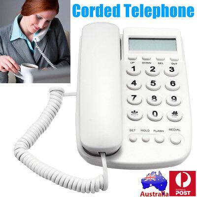 AU STOCK Desktop Corded Telephone Phone LCD Display Caller ID Redial/Flash/Pause