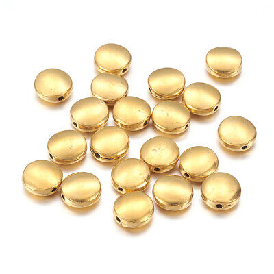 50PCS Tibetan Silver Beads Antique Golden Flat With Round  Lead Free 9mm