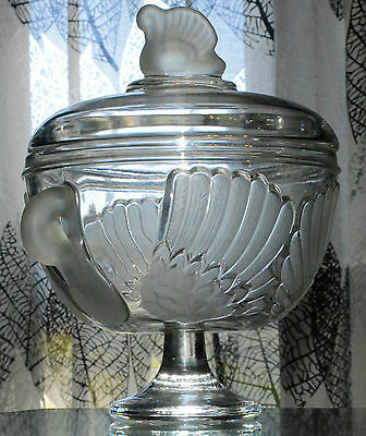 "Large Antique Cup Foot Crystal Mold Satin ""walter Glass"" Germany"