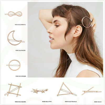 Women's Girls Rose Gold Hair Clips Geometric Metal Hair clip Clamps Slide Grips
