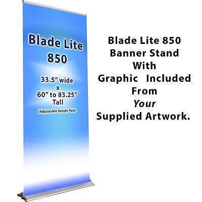 Retractable Pull-Up Banner Stand Display With Your Graphic Printed & Installed