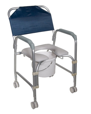 Portable Wheelchair Bedside Commode Chair Seat With Wheels Shower Chair Rolling