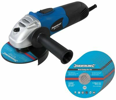 "Silverline 650w Electric Grinding Angle Grinder 4.5"" 115mm 10 Free Cutting Discs"