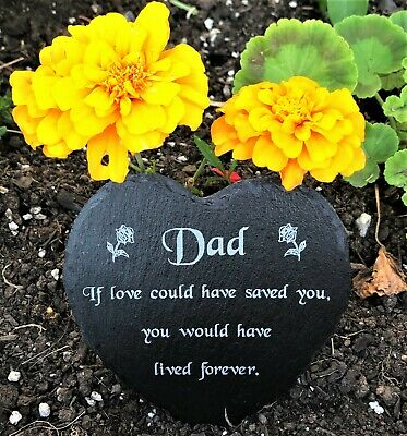 Dad Engraved Natural Slate Heart Memorial Grave Marker Plaque