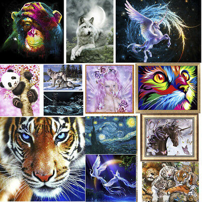 UK DIY 5D Diamond Painting Wolves Tiger Embroidery Cross Stitch Craft Home Decor