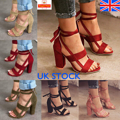 UK Ladies Womens Peep Toe Sandals Block High Heel Ankle Strap Shoes Size Party