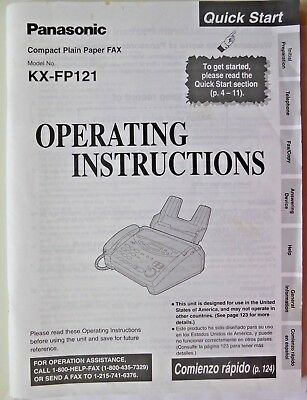 Panasonic, KX-FP121 Compact Plain Paper Fax Operating Instructions Manual