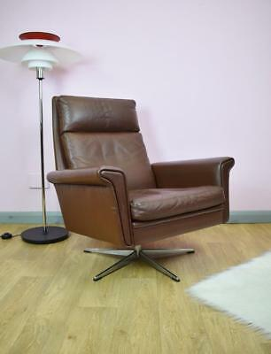 Mid Century Vintage Retro Danish Brown Leather Swivel Lounge Arm Chair 1960s 70s