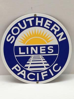 Older Heavy Porcelain SOUTHERN PACIFIC RAILROAD Train Sign Advertisement Emblem