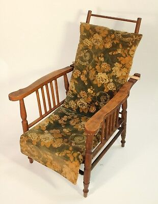 Antique Miniature Salesman Sample Childs Doll Furniture Morris Reclining Chair