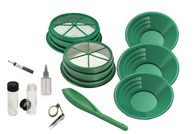 11pc Gold Pan Panning Kit 3 Green Gold Pans 2 Classifiers & MORE!!!