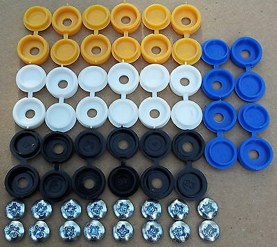 Number Plate fixing screw / screws caps / covers 38 pcs euro blue *FREE P&P*
