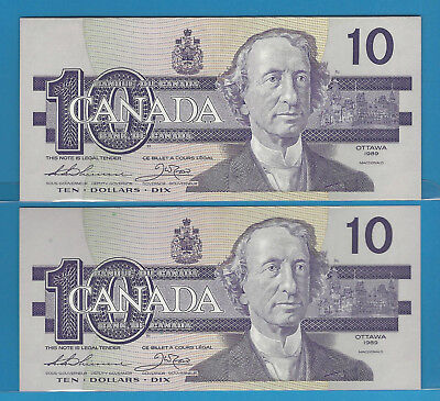 1989 2 Consecutive Bank Of Canada $10 AEY  BC-57a Thiessen / Crow  CH / UNC