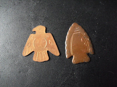 "Lot of 2 Vintage Bronze Copper Eagle Arrowhead Medals Tokens  1 1/2"" Tall"