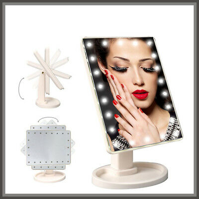 Tri-Fold LED Touch Screen Makeup Mirror Tabletop Lighted Cosmetic Vanity Mirror