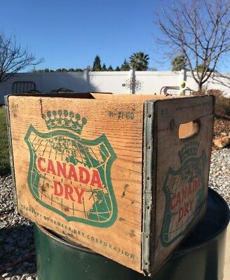 Vintage 1960 Canada Dry Advertising Wooden Crate Box Sturdy Cool Storage