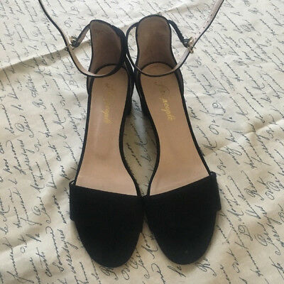 e48ae0180ea Free People Marigold Block Heel Open Toe Sandals Ankle Strap Black Suede 40  (UK)