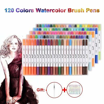 Art Graphic Drawing Manga Twin Tip Brush Fineliner Sketch Marker Pen 100 Colours