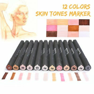 12 Skin Tones Colour Twin Tips Marker Pens for Touch Sketch Art Painting Drawing