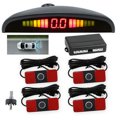 4 Parking Sensors LCD LED Display Car Rear Reverse Backup Radar System Alarm Kit