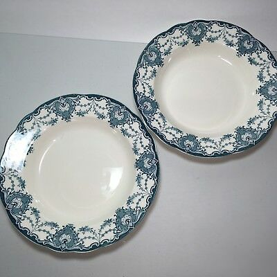 2 Venice Pattern Keeling K & Co B Late Mayers Soup Bowl Plates Blue Green Cream