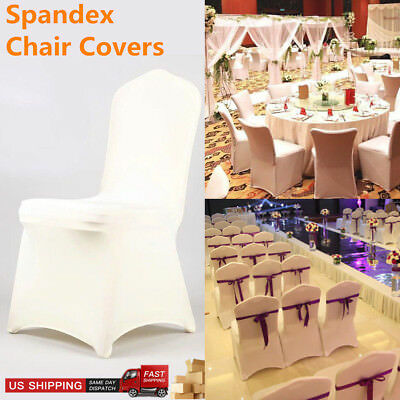 Universal White Polyester Spandex Chair Arched/Flat Covers Wedding Party US LOT