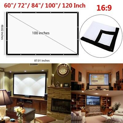 Projector Curtain Projection Screen Durable Portable 100inch 16:9 Office