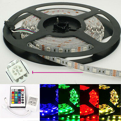 5M 300 Leds SMD 5050 RBG 12V Non-Waterproof LED Strips Light + 24KEY Controller