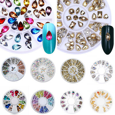 3D Nail Art Tips gems Clear AB Crystal Glitter Rhinestone DIY Decoration + Wheel