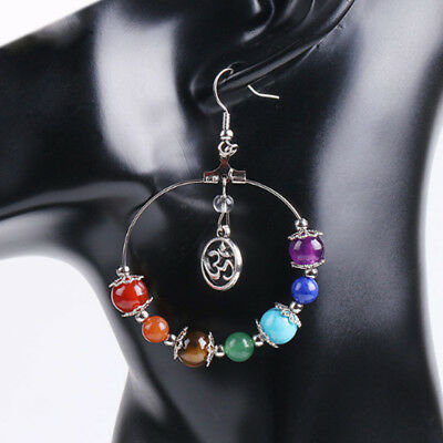 Women's Chakra Multicolor Stone Beads 3D/Tree Of Life Dangling Hook Earring Gift