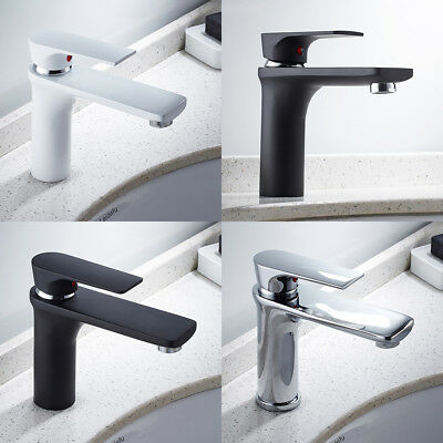 EVERSO Single Basin Taps Bathroom Bar Round Mixer Faucet  White & Black Chrome