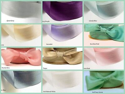 "Habotai Hand Dyed Pure 100% Silk Ribbon 1.25"" or 3/4"" wide Soft Vintage Wedding"
