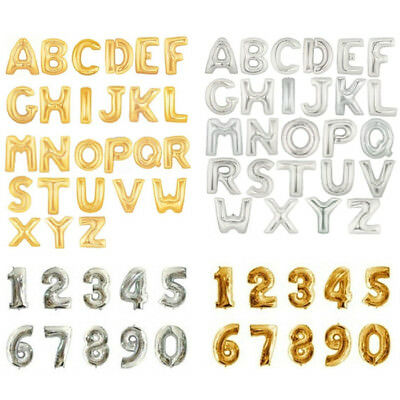 "16/40"" Foil Letter Number Balloons Birthday Wedding Party Decoration Gold Silver"