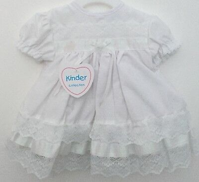 Baby Girls Traditional Spanish Romany Style White Lace & Ribbon Frilly Dress