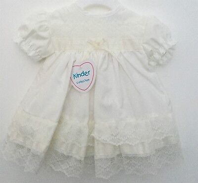 Baby Girls Pretty Traditional Spanish Style Lace & Ribbon Ivory Frilly Dress