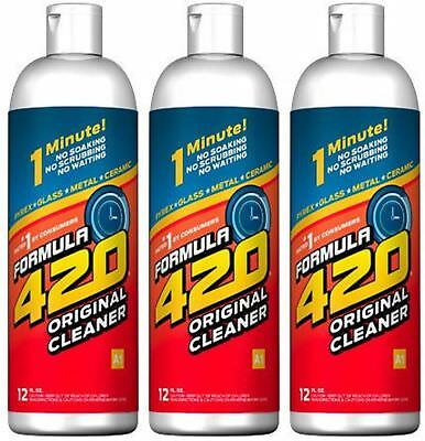 Formula 420 Cleaner 3 pack 12 oz Pipe Pyrex Metal Glass 1 Minute  FAST SHIPPING