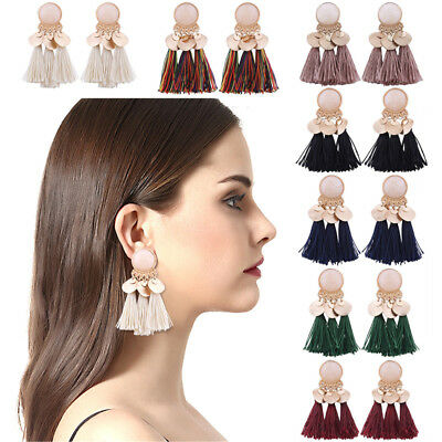 Vintage Women Tassel Earrings Dangle Alloy Resin Bohemian Fashion Pendant HIGH